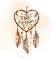 capteur de rêves coeur dessiné à la main vecteur