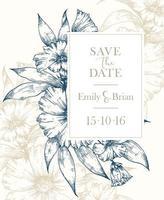croquis floral enregistrer la carte de mariage de date vecteur