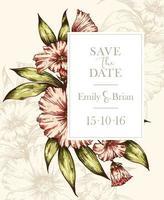 carte de mariage floral dessinée à la main vecteur