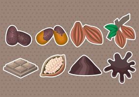 Icônes de haricots de cacao vecteur