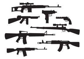 Vecteur de silhouettes d'armes militaires gratuites