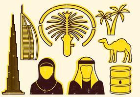 Icônes de ligne des Emirats Arabes Unis vecteur