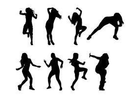 Vecteur libre de silhouettes de danse de zumba