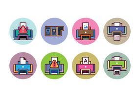Ensemble d'icônes d'imprimante gratuit vecteur