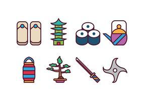 Ensemble d'icônes japonais gratuit vecteur