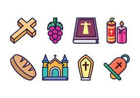 Ensemble d'icônes eucharistie libre vecteur