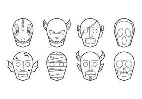Vecteur d'icônes de masque de Halloween gratuit