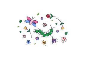 Vector des fleurs et des insectes
