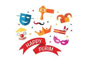 Fun Happy Happy Purim Vector Icons