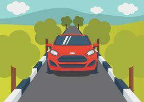 Ford Fiesta sur la route vecteur