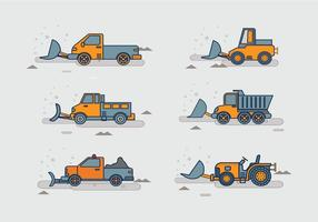 Snow Plough Tracktor Pack Stock Vector