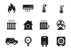 Vecteur gratuit d'icônes de chauffage et de refroidissement