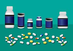 Pilule, botte, bottle, maquette, vecteur
