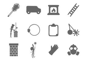 Vecteur libre d'icônes de balayage de cheminée