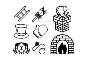 Jeu d'icônes de charbon et de chauffage vecteur