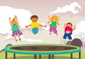 Le garçon et la fille sautent au trampoline vecteur