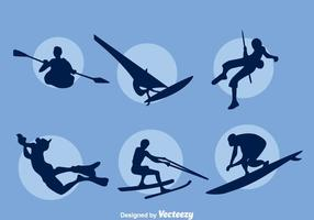Ensemble de silhouette de sport aquatique extrême vecteur