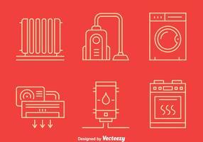 Icônes de ligne d'électroménager vecteur