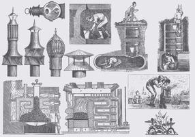 Illustrations vintage cheminée vecteur
