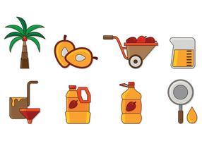 Ensemble d'icônes d'huile de palme vecteur