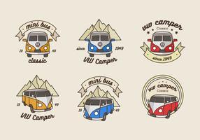 Logo de minibus d'aventure vintage