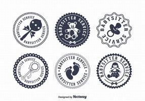 Badges vectoriels de baby-sitter gratuits vecteur