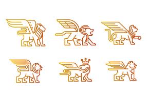 Vecteur de lion aux ailes libre