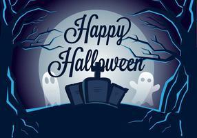 Spooky Graveyard Illustration Vectorisée