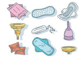 Vector d'icônes d'hygiène féminisée