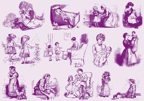 Les mamans et les enfants vecteur