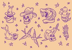 Vecteur libre d'icônes de tatouage Old School