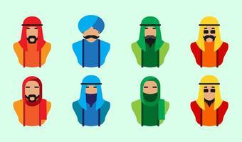 Vecteur libre d'icônes de personnes arabes
