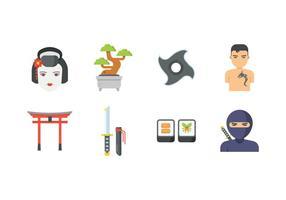 Icônes japonaises gratuites vecteur