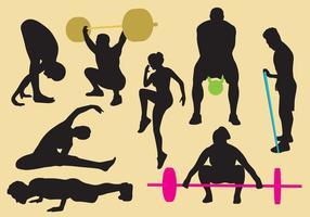 Silhouettes d'exercice et de gymnastique vecteur