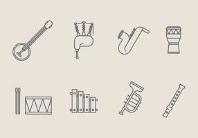 Vecteurs d'icônes d'instruments de musique vecteur
