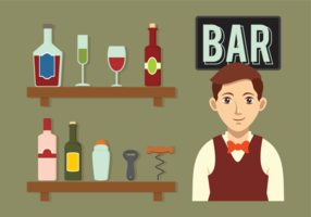 Barman icônes vectorielles vecteur