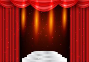 Rideaux de théâtre rouge avec fond de foudre