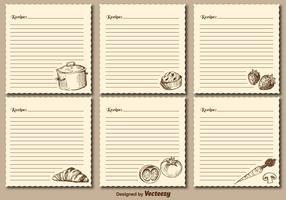 Cartes de recettes vintage Cartes vectorielles
