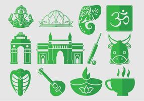 Jeu d'icônes de l'Inde vecteur