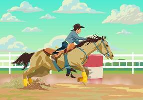 Cowboy participant à une course de barils vecteur