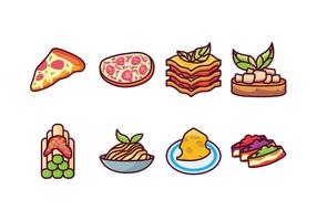 Icônes gratuites de nourriture italienne vecteur