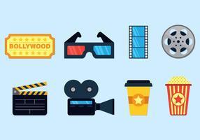 Ensemble d'icônes de Bollywood vecteur