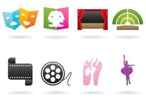 Logos de théâtre et de ballet vecteur