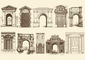 Portes et arches des portes sépia vecteur