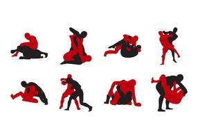 Vecteur de silhouette de lutte contre les mômes gratuit