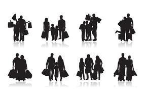 Vecteur de silhouette de shopping familial gratuit