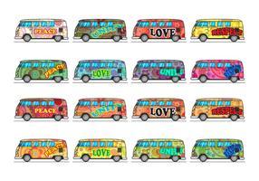 Vecteur d'icône gratuit de bus hippie
