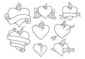 Vecteur gratuit de tatouage de coeur sacré
