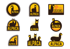 Étiquettes de vecteur d'alpaga
