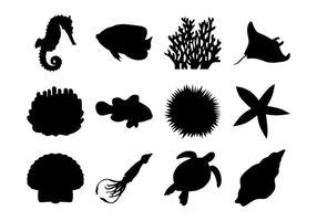 Vecteur libre de silhouettes de la vie marine